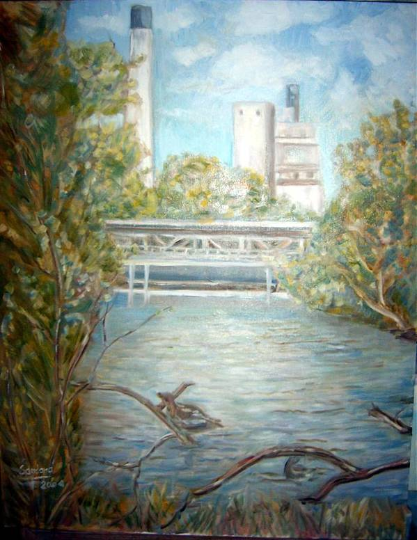 Landscape River Factory Ducks Art Print featuring the painting Smokestack by Joseph Sandora Jr