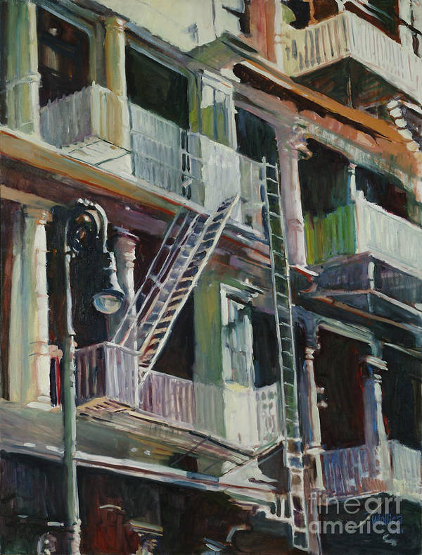 Urban Art Print featuring the painting Soho Fire Escapes by Patti Mollica