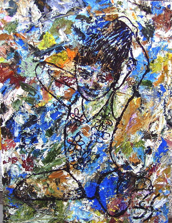 Abstract Art Print featuring the painting Spirits Of My Palette - Christina by Santiago Chavez