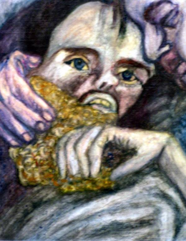 Spiritual Portrait Art Print featuring the painting Sponge Christ Your Eyes by Stephen Mead