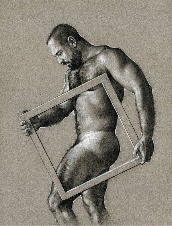 Male Art Print featuring the drawing Square by Chris Lopez