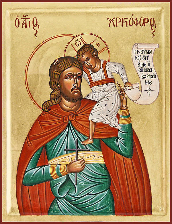 Icon Byzantine Print featuring the painting St Christopher by Julia Bridget Hayes