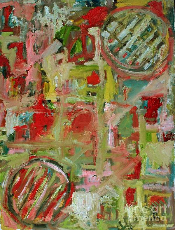 Abstract Art Print featuring the painting Still Life With Fruit by Michael Henderson