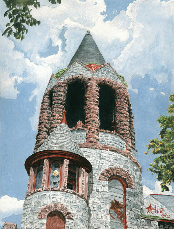 Church Art Print featuring the painting Stone Church Bell Tower by Dominic White