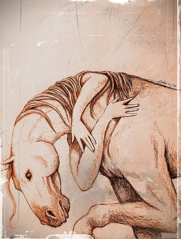 Strength And Affection Art Print featuring the digital art Strength And Affection by Paulo Zerbato