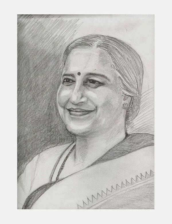 Sudha Narayanamurthy Art Print featuring the drawing Sudha Murthy A Philanthropist by Asha Sudhaker Shenoy