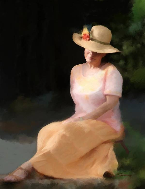Women Art Print featuring the painting Summer Day Dreamer by Carver Shivers