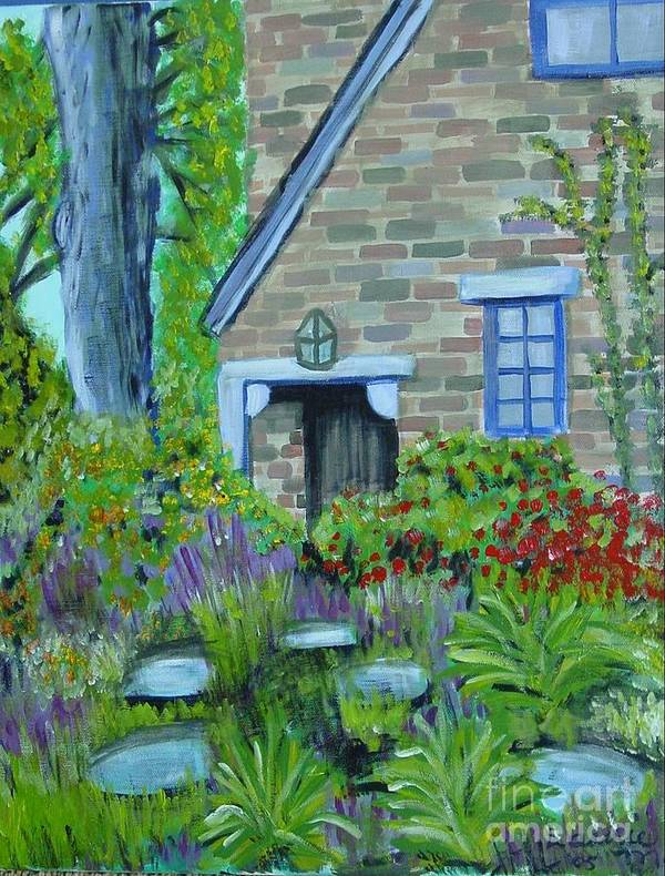 Cottage Art Print featuring the painting Summer Retreat by Laurie Morgan