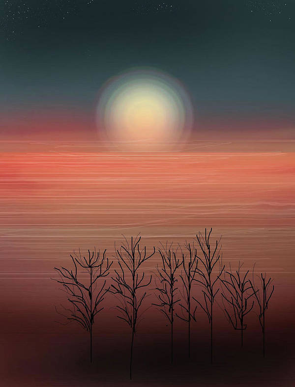 Sunset Art Print featuring the painting Sun Going To Bed by Anne Norskog