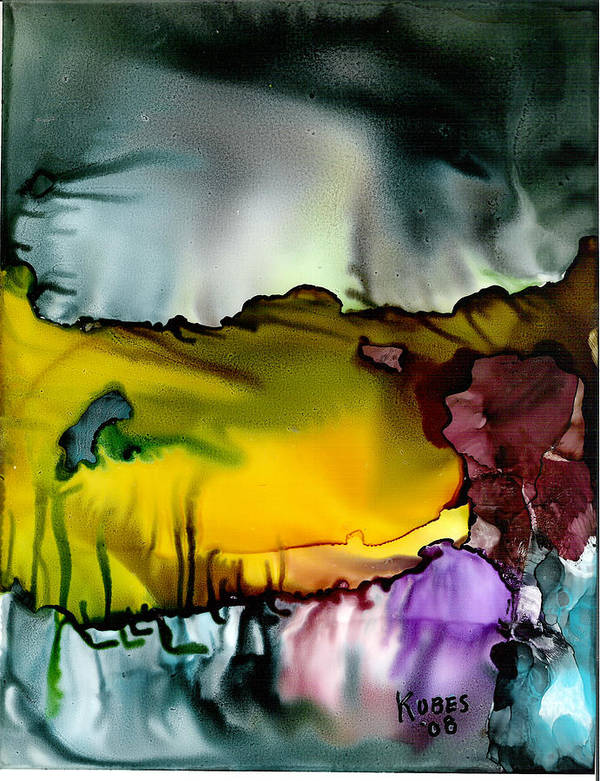 Abstract Art Print featuring the mixed media Sunless Sea by Susan Kubes