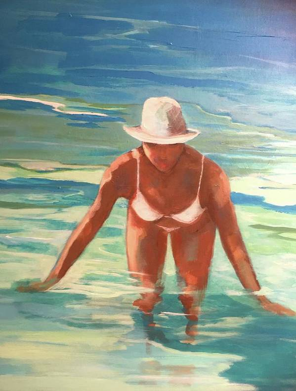 Figurative Art Print featuring the painting Swimmer In Blue by Anne Carter