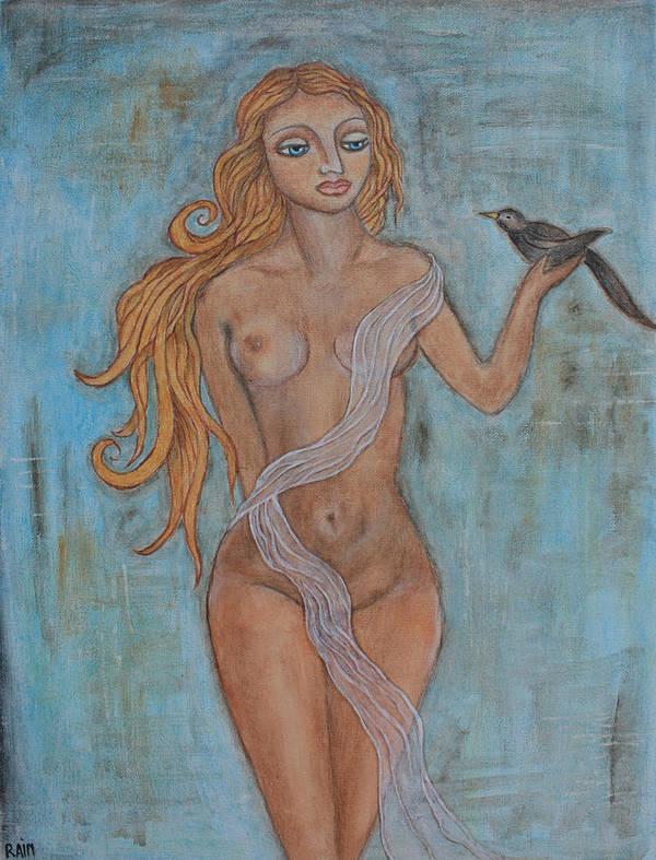 Folk Art Painting Art Print featuring the painting Tara And Her Bird by Rain Ririn
