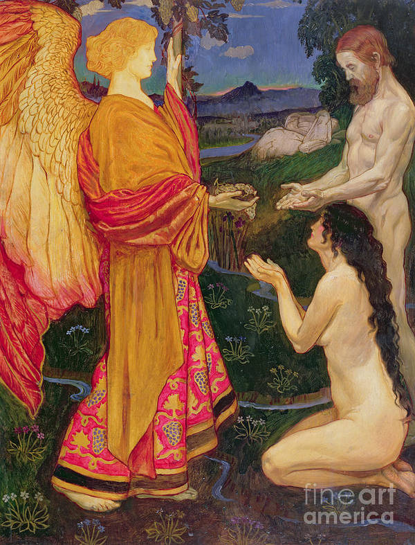 Old Testament; Genesis; Expulsion; Garden Of Eden; Renaissance; Nude; Angel; Punishment Art Print featuring the painting The Angel Offering The Fruits Of The Garden Of Eden To Adam And Eve by JBL Shaw