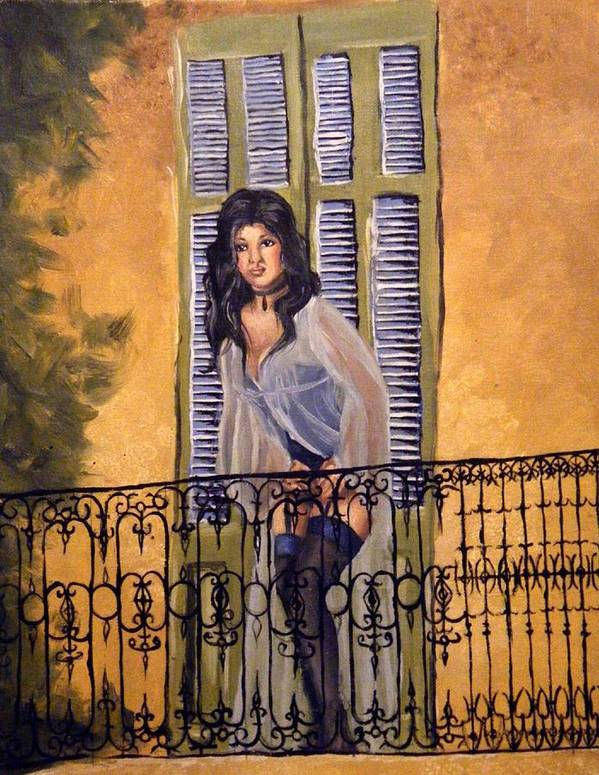 Balcony Art Print featuring the painting The Balcony by Scarlett Royal