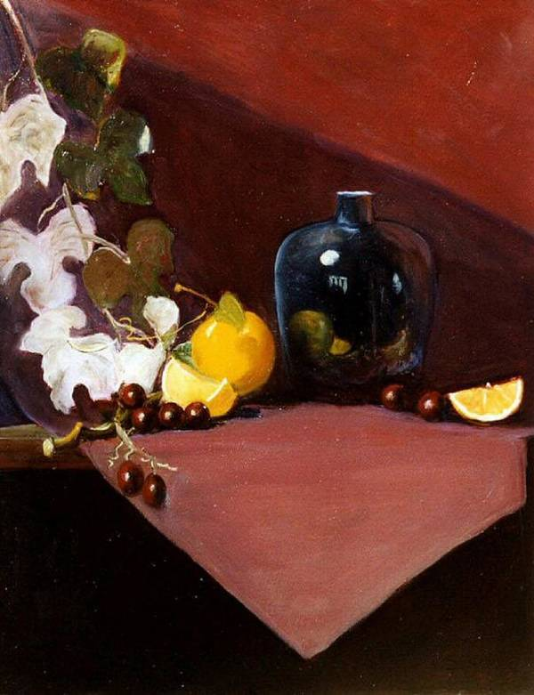 Still Life Art Print featuring the painting The Black Vase by Jeanene Stein
