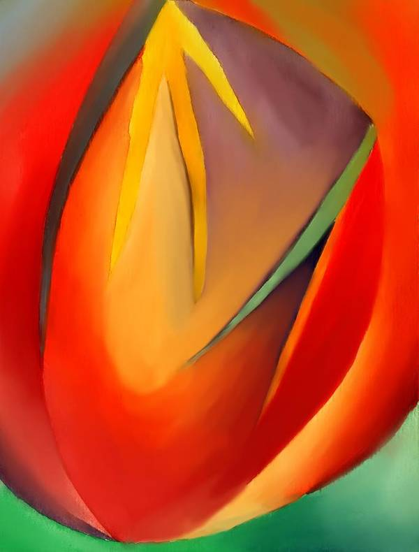Abstract Art Print featuring the painting The Cave by Peter Shor