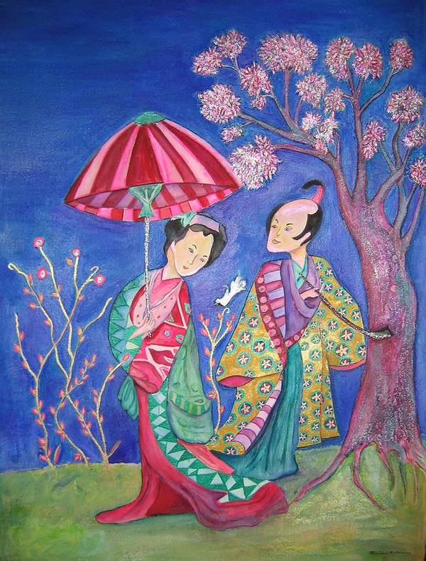 Umbrella Art Print featuring the painting The Courtship by Marlene Robbins