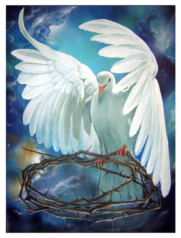 Dove Print featuring the painting The Dove by Larry Cole