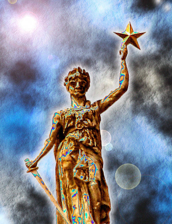 Texas Art Print featuring the digital art The Goddess Of Liberty - Texas State Capitol by Wendy J St Christopher