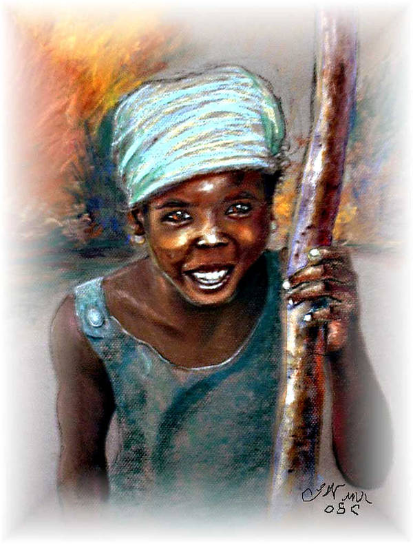 Children Art Print featuring the pastel The Hope Of Africa by Tommy Winn