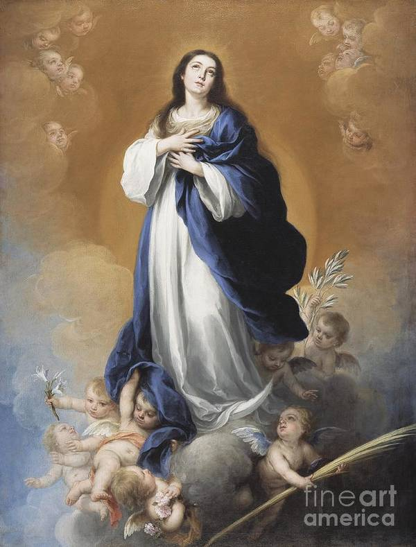 The Print featuring the painting The Immaculate Conception by Bartolome Esteban Murillo
