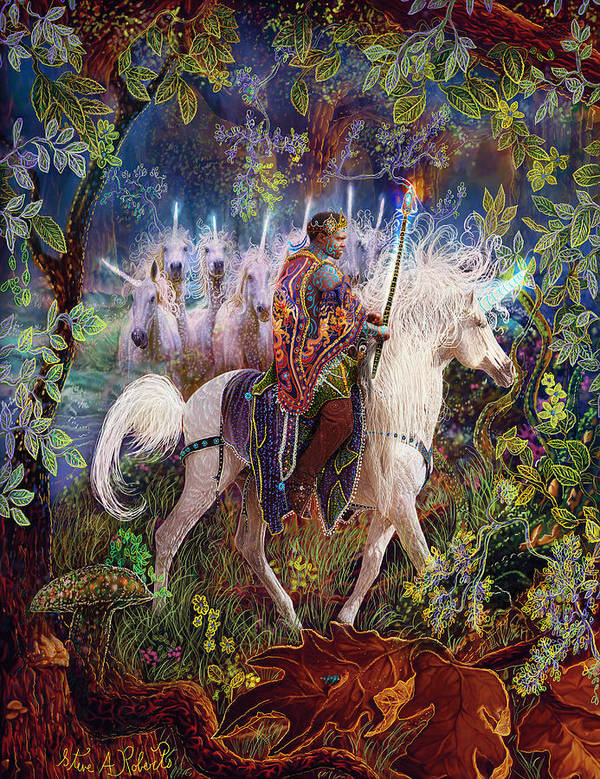 Unicorns Art Print featuring the painting The King And I by Steve Roberts