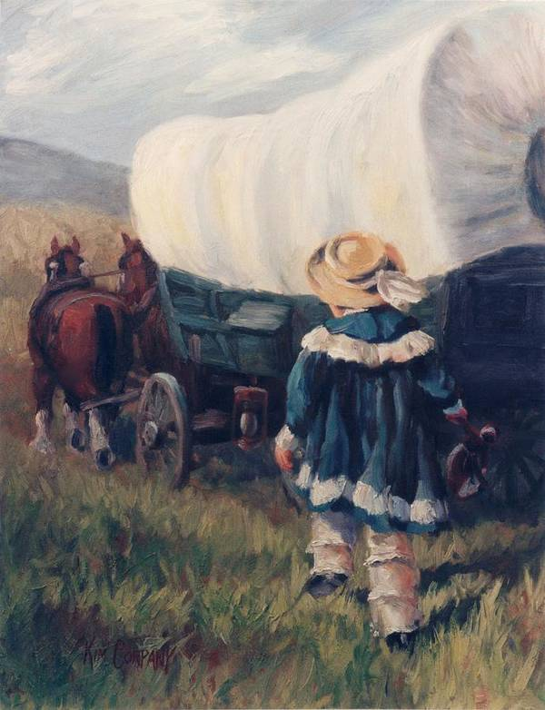Pioneer Art Print featuring the painting The Little Pioneer Western Art by Kim Corpany