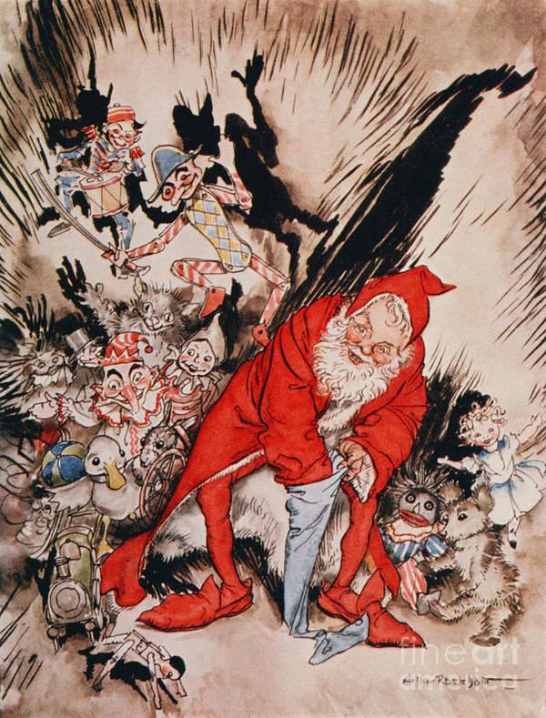 Arthur Art Print featuring the drawing The Night Before Christmas by Arthur Rackham