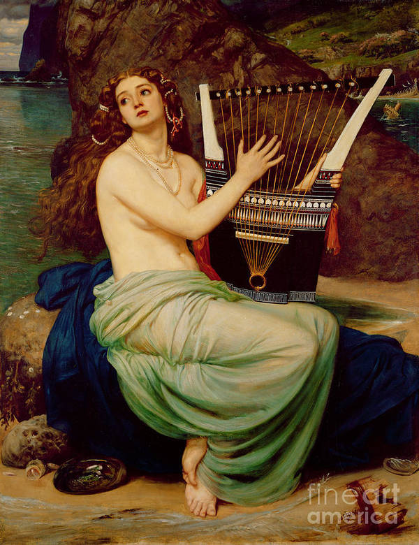 The Art Print featuring the painting The Siren by Sir Edward John Poynter