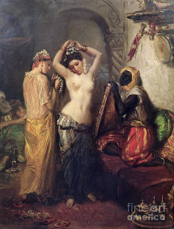 The Print featuring the painting The Toilet In The Seraglio by Theodore Chasseriau