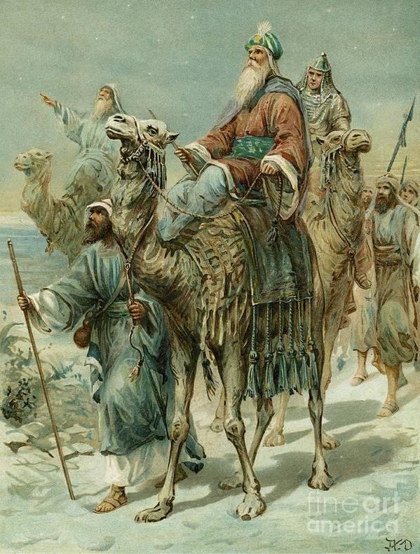 The Wise Men Seeking Jesus Art Print featuring the painting The Wise Men Seeking Jesus by Ambrose Dudley