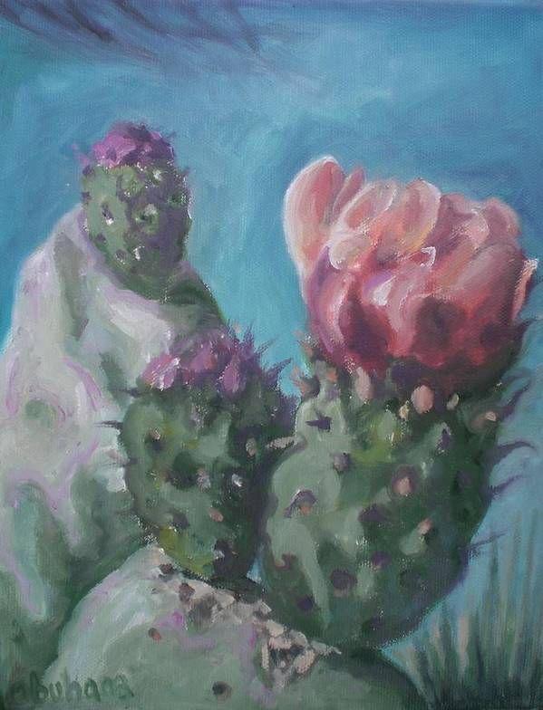 Cactus Blossom Art Print featuring the painting Three Cactus Blossoms by Aleksandra Buha