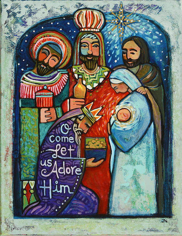 Jen Norton Art Print featuring the painting Three Kings O Come Let Us Adore Him by Jen Norton