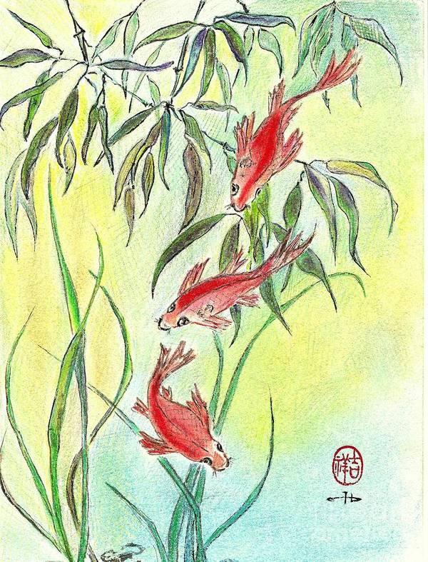 Koi Art Print featuring the mixed media Three Koi by Irina Davis
