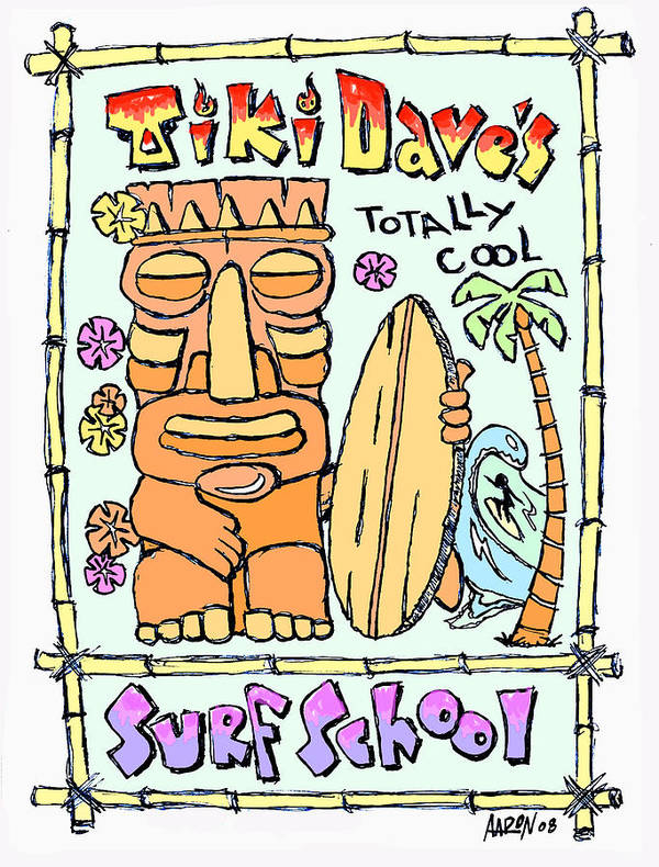 Tiki Art Print featuring the digital art Tiki Dave's by Aaron Bodtcher