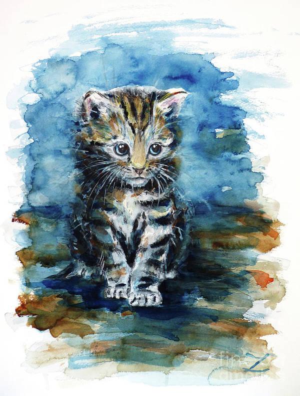 Timid Kitten Art Print featuring the painting Timid Kitten by Zaira Dzhaubaeva