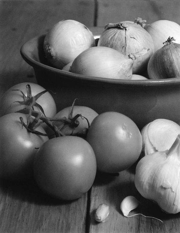 Cooking Art Print featuring the photograph Tomatos Onion And Garlic by Henry Krauzyk