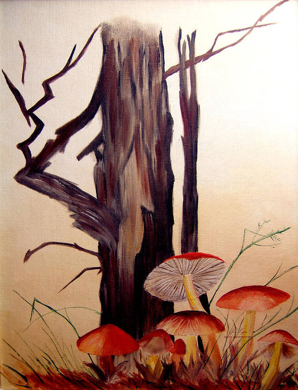 Tree Art Print featuring the print Tree And Mushrooms by JoLyn Holladay