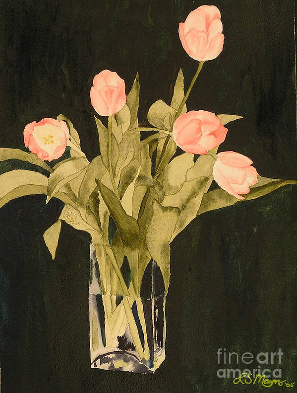 Tulips Art Print featuring the painting Tulips On Velvet by Louise Magno