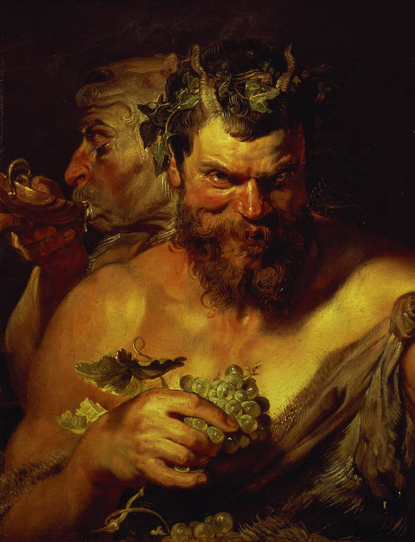 Baroque; Horns; Grapes; Drinking; Scallop Shell; Evil; Devilish Print featuring the painting Two Satyrs by Peter Paul Rubens