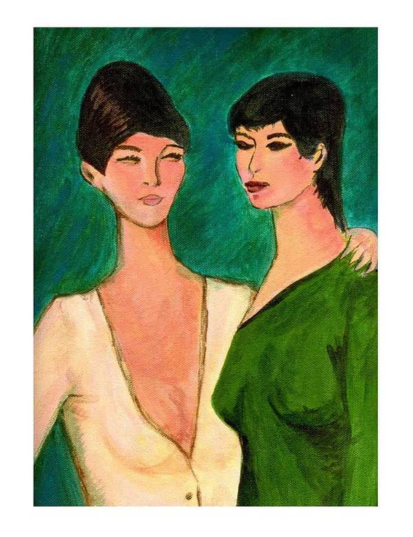 Two Sisters Art Print featuring the painting Two Sisters by Asha Sudhaker Shenoy