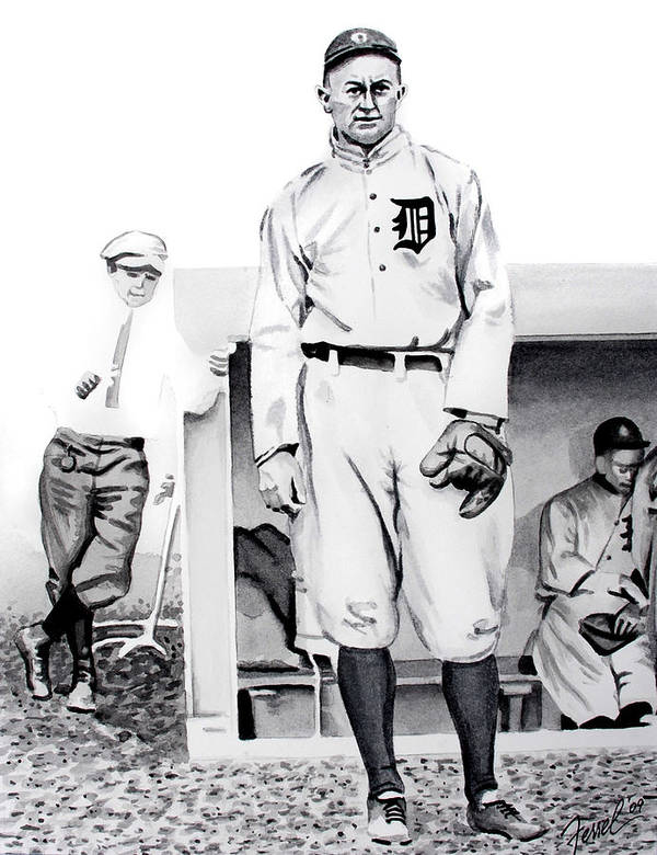 Baseball Art Print featuring the painting Ty Cobb by Ferrel Cordle