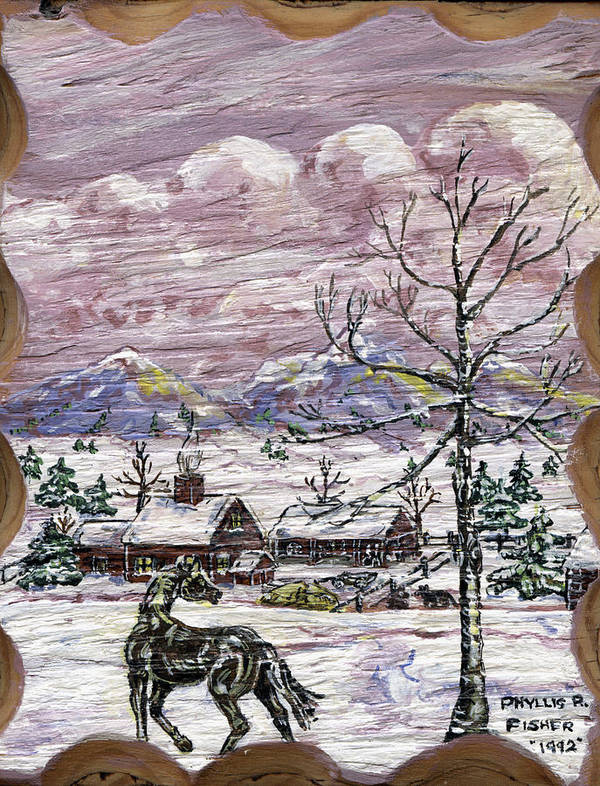 Snow Scene Art Print featuring the painting Unexpected Guest II by Phyllis Mae Richardson Fisher