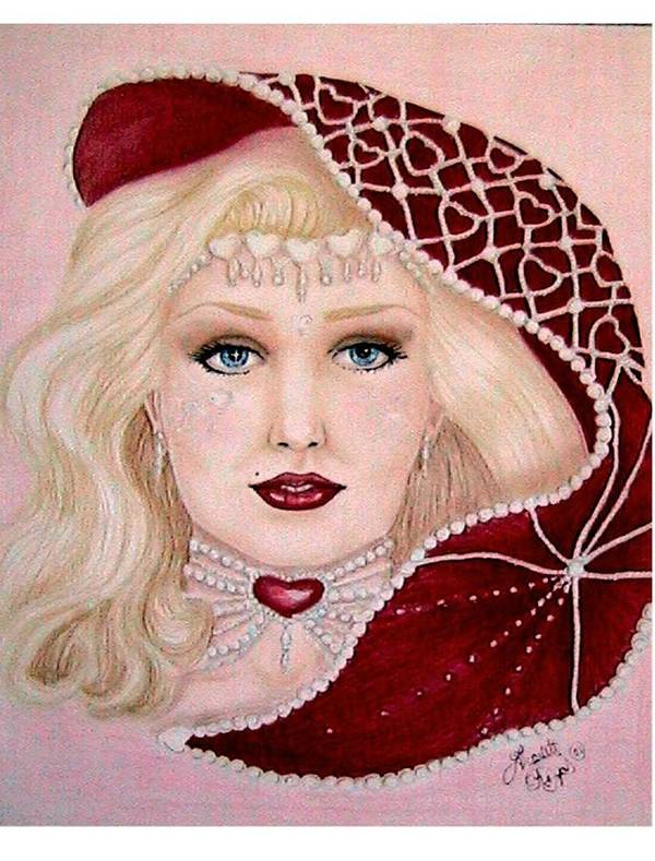 Portrait Art Print featuring the drawing Valentine by Scarlett Royal