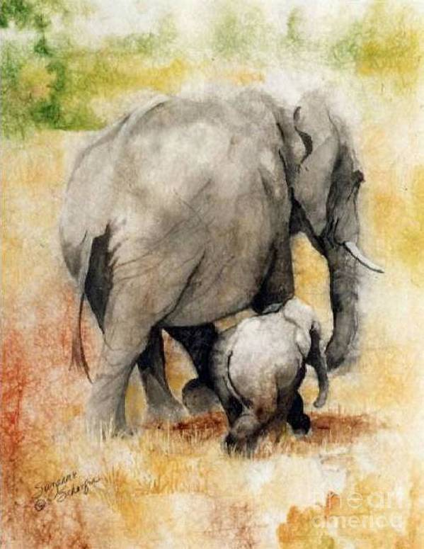 Elephants Art Print featuring the painting Vanishing Thunder Series - Mama And Baby Elephant by Suzanne Schaefer