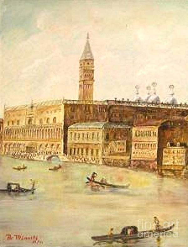 Citiscape Art Print featuring the painting Venice From Grand Canal by Nicholas Minniti