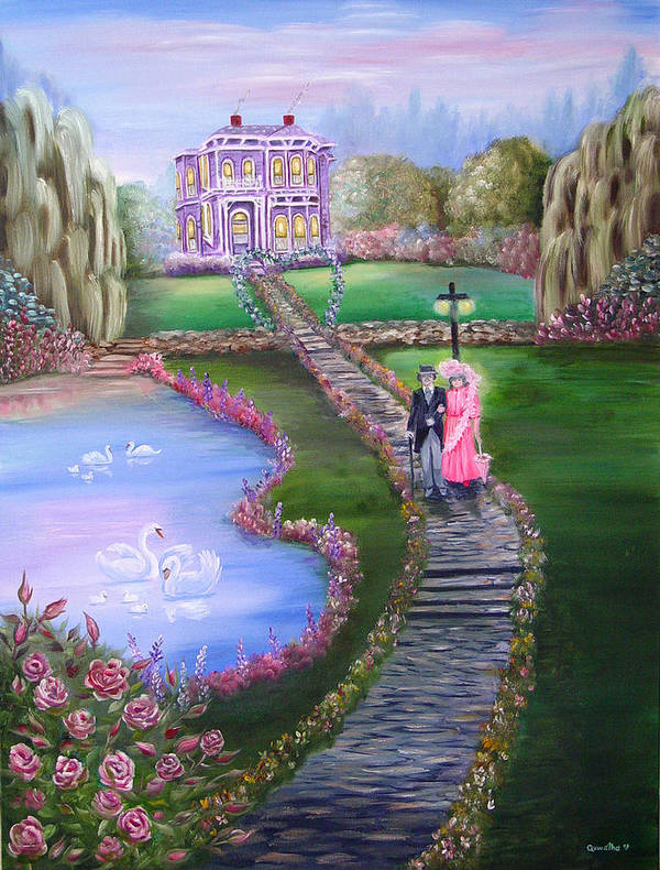 Victorian Art Print featuring the painting Victorian Romance 2 by Quwatha Valentine