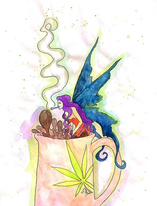 Weed Art Print featuring the drawing Weed Fairy Bath by Super Apple Pie