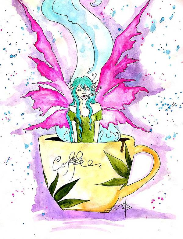 Weed Art Print featuring the drawing Weed Fairy Naptime by Super Apple Pie
