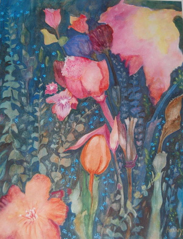 Flower Abstract Art Print featuring the painting Wild Flowers In The Wind II by Henny Dagenais